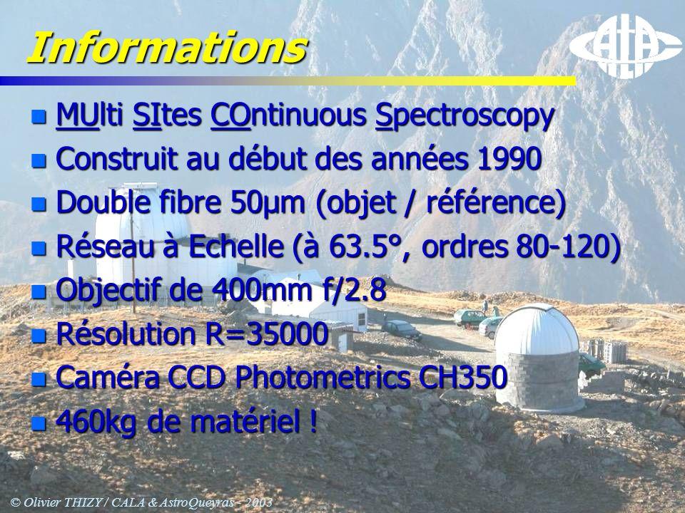 © Olivier THIZY / CALA & AstroQueyras - 2003 Informations n MUlti SItes COntinuous Spectroscopy n Construit au début des années 1990 n Double fibre 50