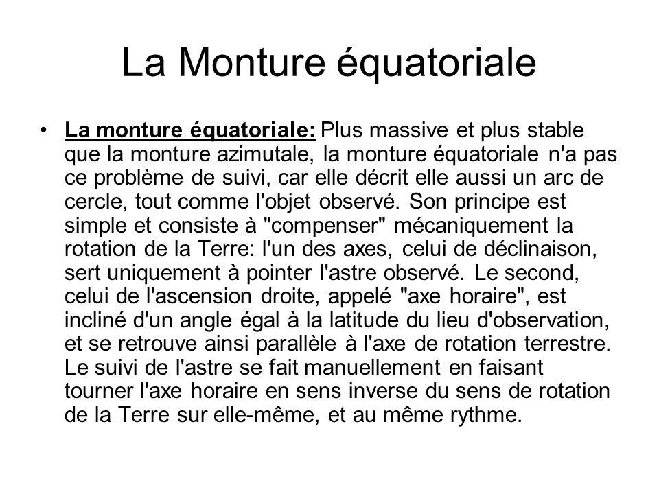 La Monture équatoriale La monture équatoriale: Plus massive et plus stable que la monture azimutale, la monture équatoriale n'a pas ce problème de sui