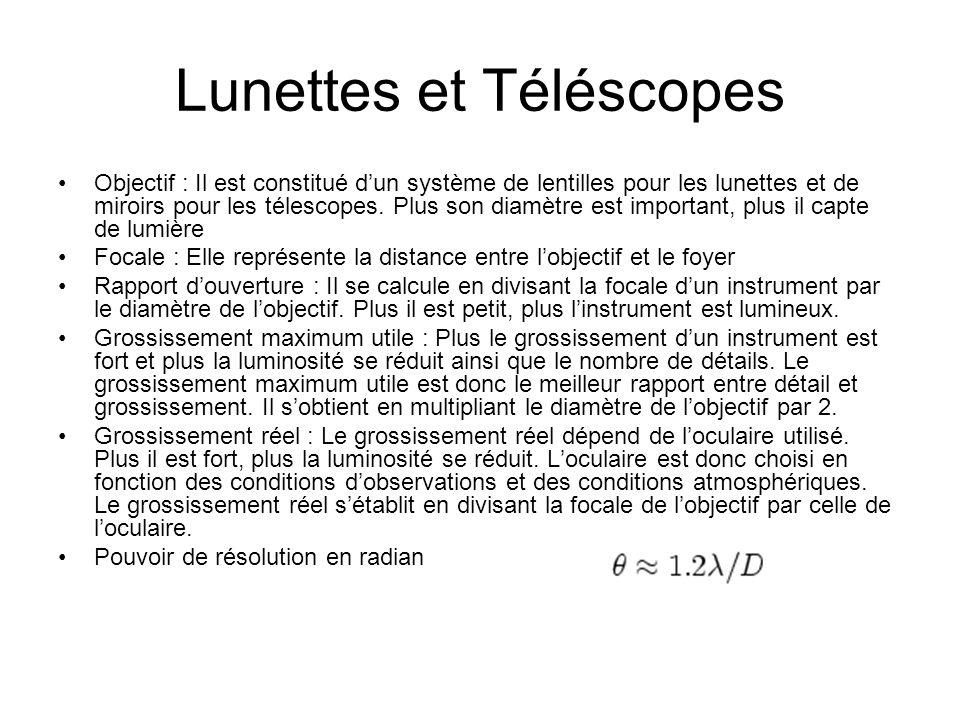 Lunettes et Téléscopes Objectif : Il est constitué dun système de lentilles pour les lunettes et de miroirs pour les télescopes. Plus son diamètre est