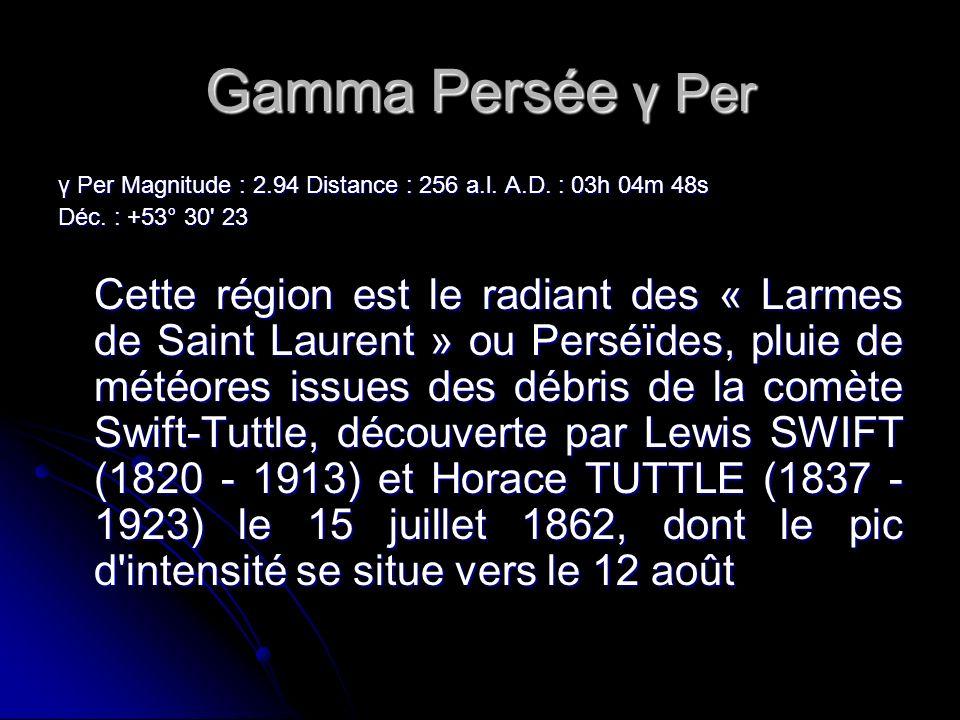 Gamma Persée γ Per γ Per Magnitude : 2.94 Distance : 256 a.l.