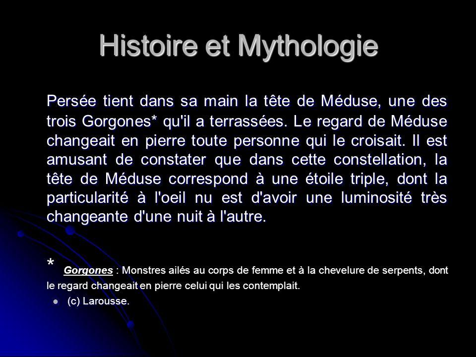 Histoire et Mythologie Persée tient dans sa main la tête de Méduse, une des trois Gorgones* qu il a terrassées.
