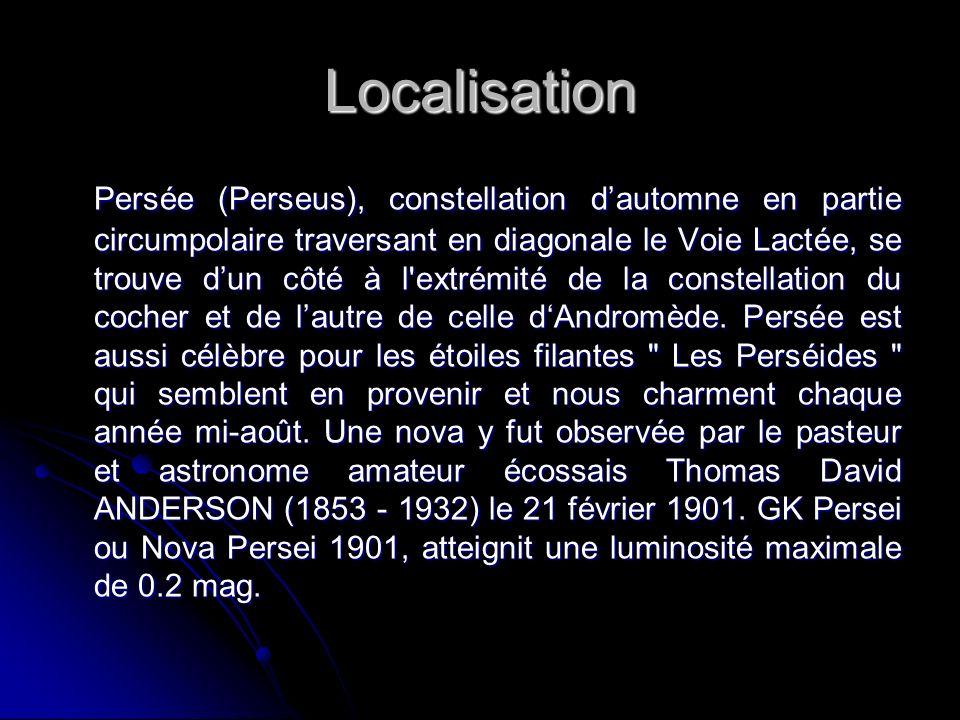 Localisation Persée (Perseus), constellation dautomne en partie circumpolaire traversant en diagonale le Voie Lactée, se trouve dun côté à l extrémité de la constellation du cocher et de lautre de celle dAndromède.