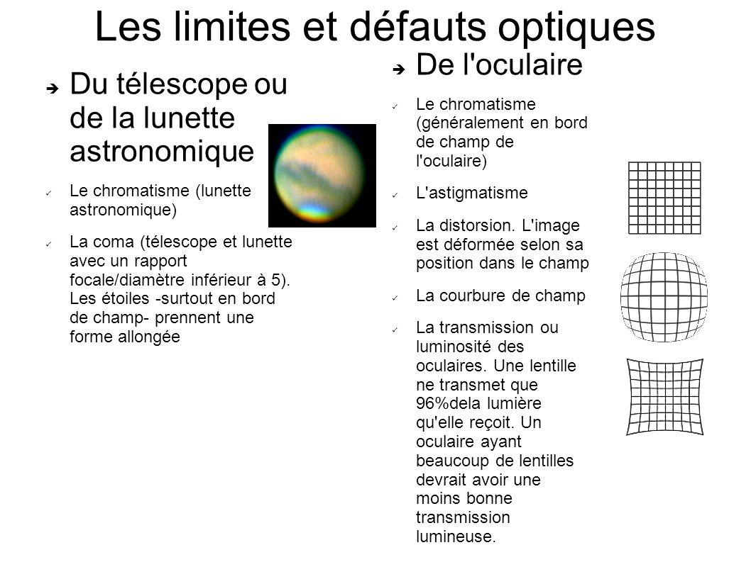 Les limites et défauts optiques Du télescope ou de la lunette astronomique Le chromatisme (lunette astronomique) La coma (télescope et lunette avec un