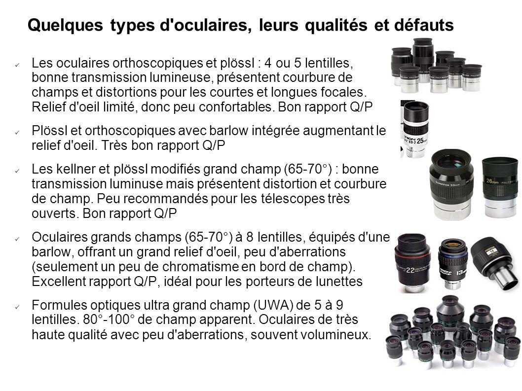 Quelques types d'oculaires, leurs qualités et défauts Les oculaires orthoscopiques et plössl : 4 ou 5 lentilles, bonne transmission lumineuse, présent