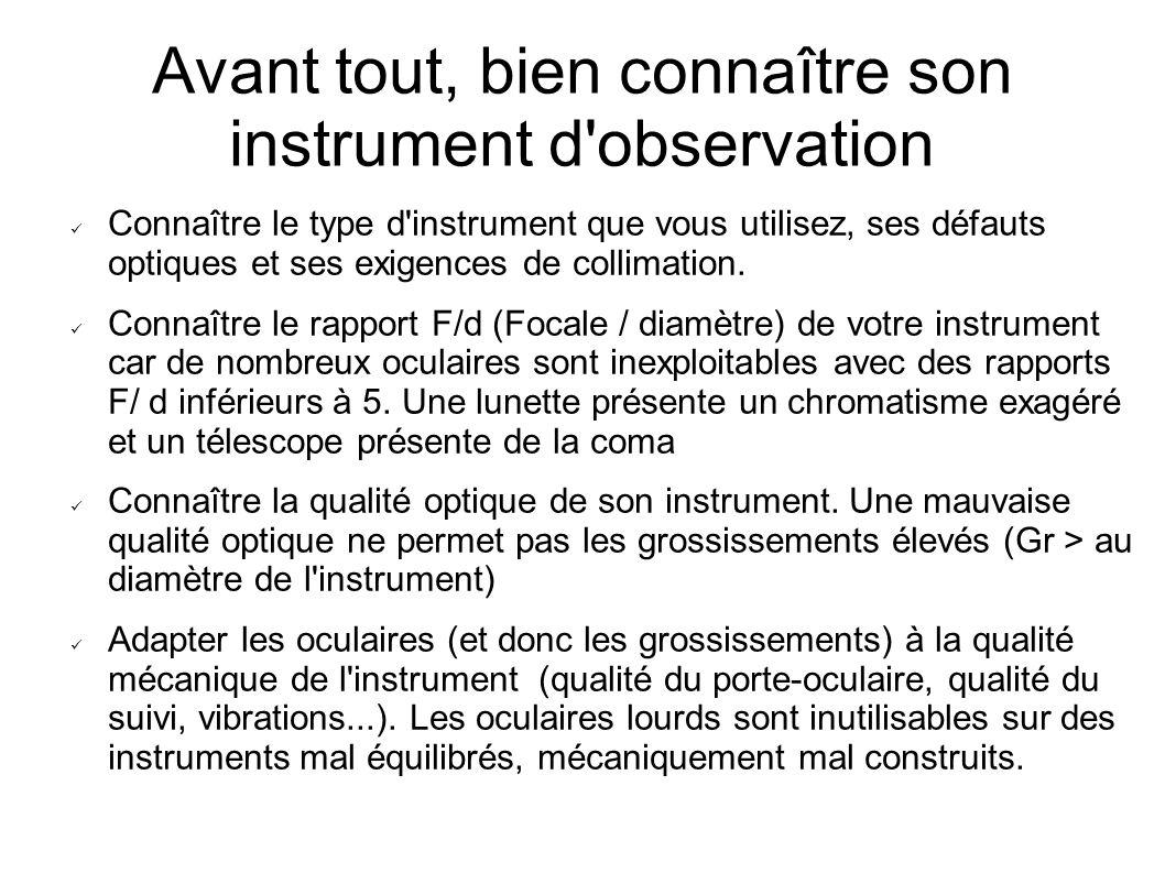 Avant tout, bien connaître son instrument d'observation Connaître le type d'instrument que vous utilisez, ses défauts optiques et ses exigences de col