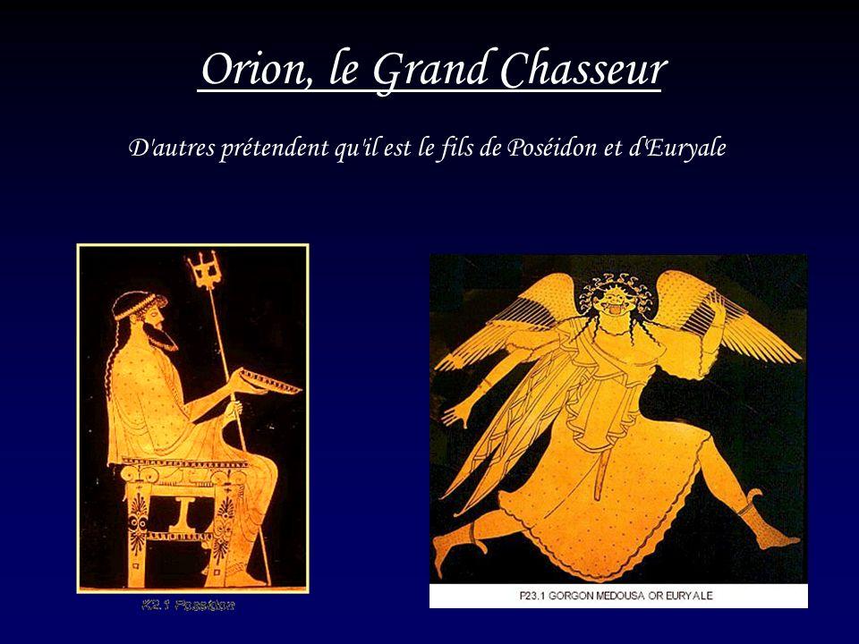4 Orion, le Grand Chasseur D'autres prétendent qu'il est le fils de Poséidon et d'Euryale