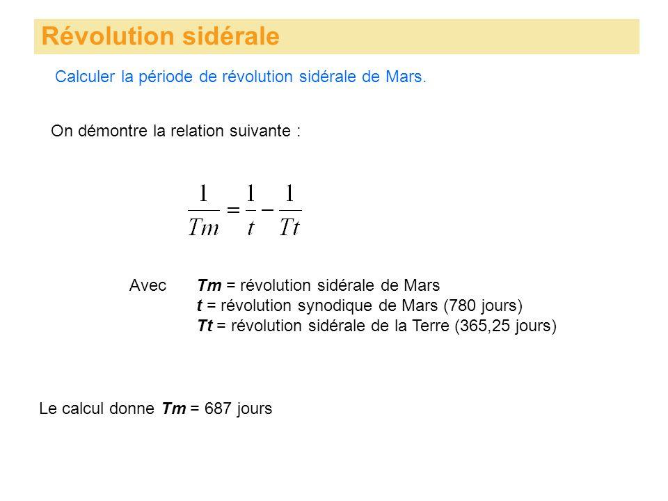 Calculer la période de révolution sidérale de Mars. Révolution sidérale On démontre la relation suivante : AvecTm = révolution sidérale de Mars t = ré