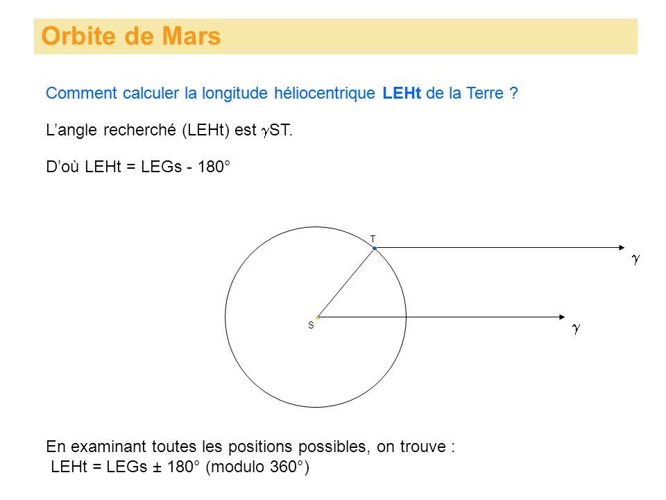 Orbite de Mars Comment calculer la longitude héliocentrique LEHt de la Terre ? S T Langle recherché (LEHt) est ST. Comment calculer la longitude hélio