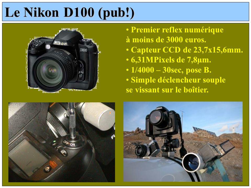 Le Nikon D100 (pub!) Premier reflex numérique à moins de 3000 euros. Capteur CCD de 23,7x15,6mm. 6,31MPixels de 7,8µm. 1/4000 – 30sec, pose B. Simple