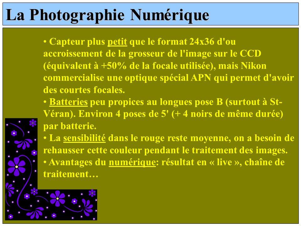 La Photographie Numérique Capteur plus petit que le format 24x36 d'ou accroissement de la grosseur de l'image sur le CCD (équivalent à +50% de la foca