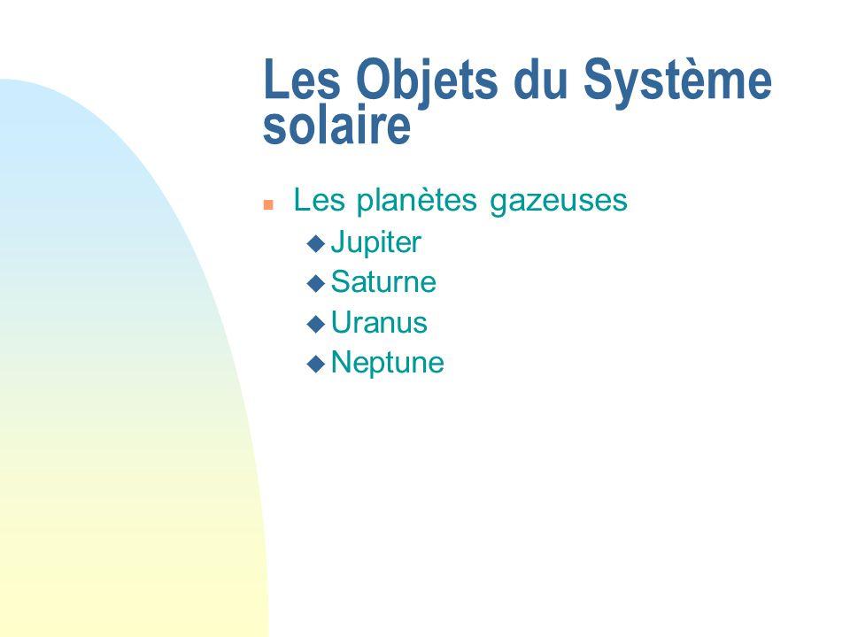 Les Objets du Système solaire Les planètes gazeuses Jupiter Saturne Uranus Neptune
