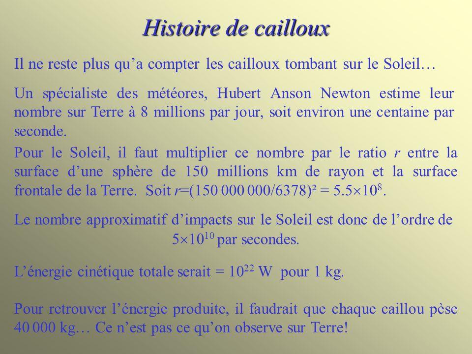 Histoire de cailloux Pour le Soleil, il faut multiplier ce nombre par le ratio r entre la surface dune sphère de 150 millions km de rayon et la surfac