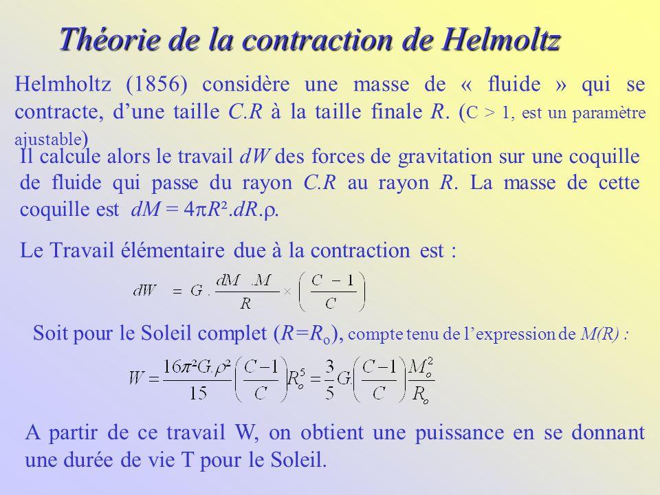 Théorie de la contraction de Helmoltz Il calcule alors le travail dW des forces de gravitation sur une coquille de fluide qui passe du rayon C.R au ra