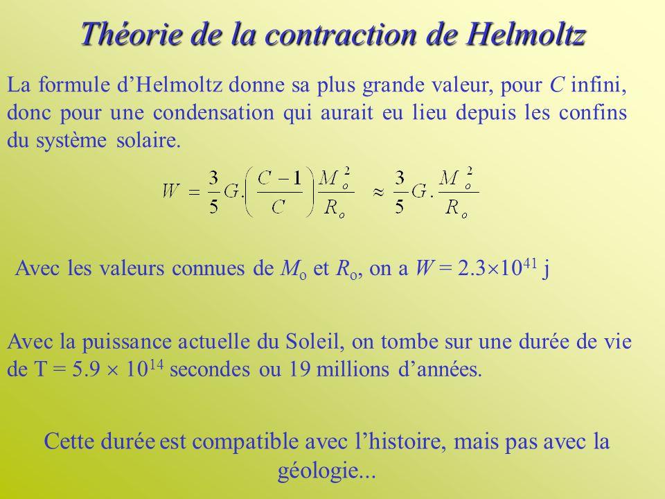 Théorie de la contraction de Helmoltz La formule dHelmoltz donne sa plus grande valeur, pour C infini, donc pour une condensation qui aurait eu lieu d