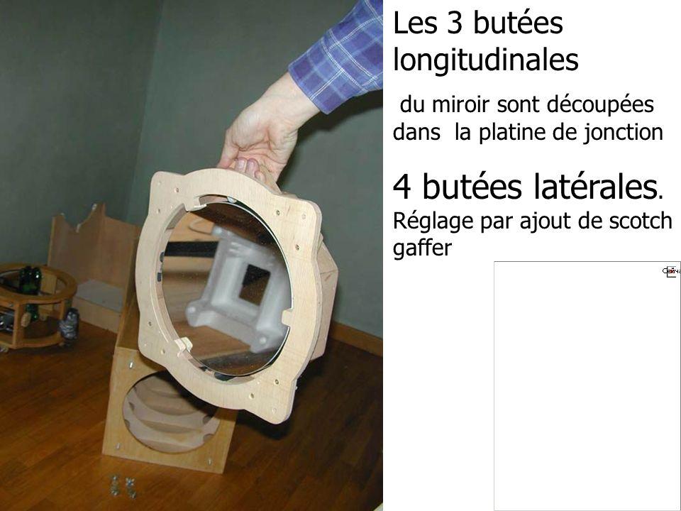 Les 3 butées longitudinales du miroir sont découpées dans la platine de jonction 4 butées latérales. Réglage par ajout de scotch gaffer