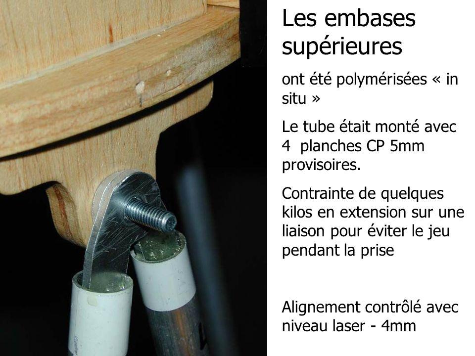 Les embases supérieures ont été polymérisées « in situ » Le tube était monté avec 4 planches CP 5mm provisoires. Contrainte de quelques kilos en exten