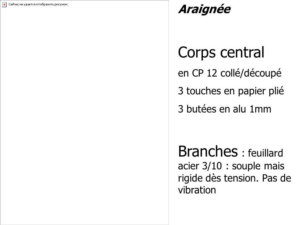 Araignée Corps central en CP 12 collé/découpé 3 touches en papier plié 3 butées en alu 1mm Branches : feuillard acier 3/10 : souple mais rigide dès te