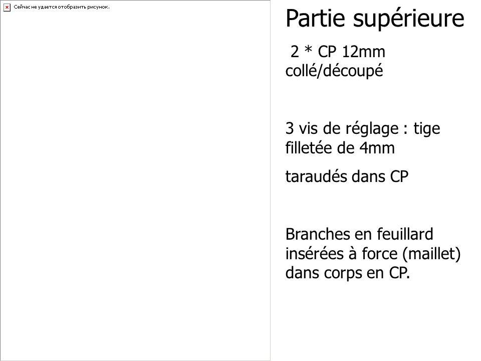 Partie supérieure 2 * CP 12mm collé/découpé 3 vis de réglage : tige filletée de 4mm taraudés dans CP Branches en feuillard insérées à force (maillet)