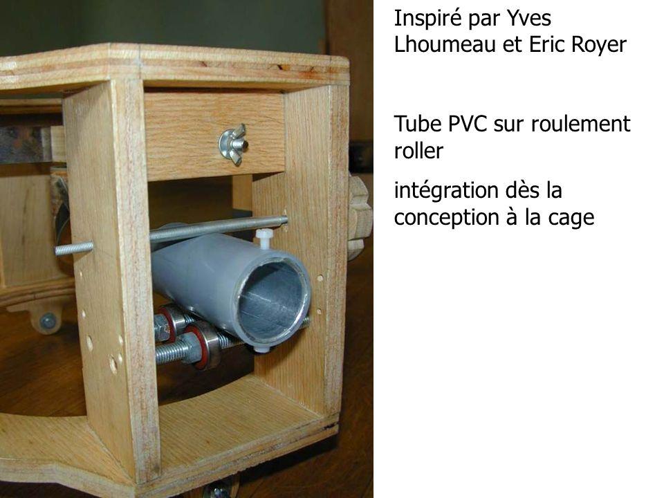 Inspiré par Yves Lhoumeau et Eric Royer Tube PVC sur roulement roller intégration dès la conception à la cage