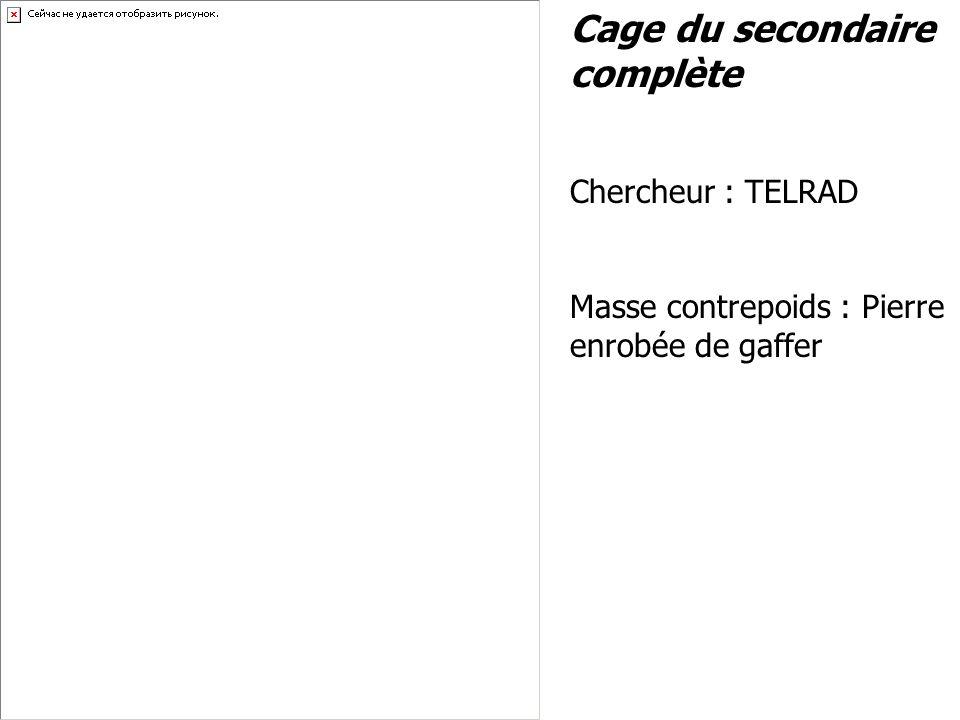 Cage du secondaire complète Chercheur : TELRAD Masse contrepoids : Pierre enrobée de gaffer