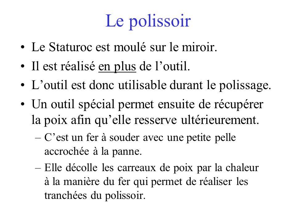 Le polissoir Le Staturoc est moulé sur le miroir. Il est réalisé en plus de loutil. Loutil est donc utilisable durant le polissage. Un outil spécial p