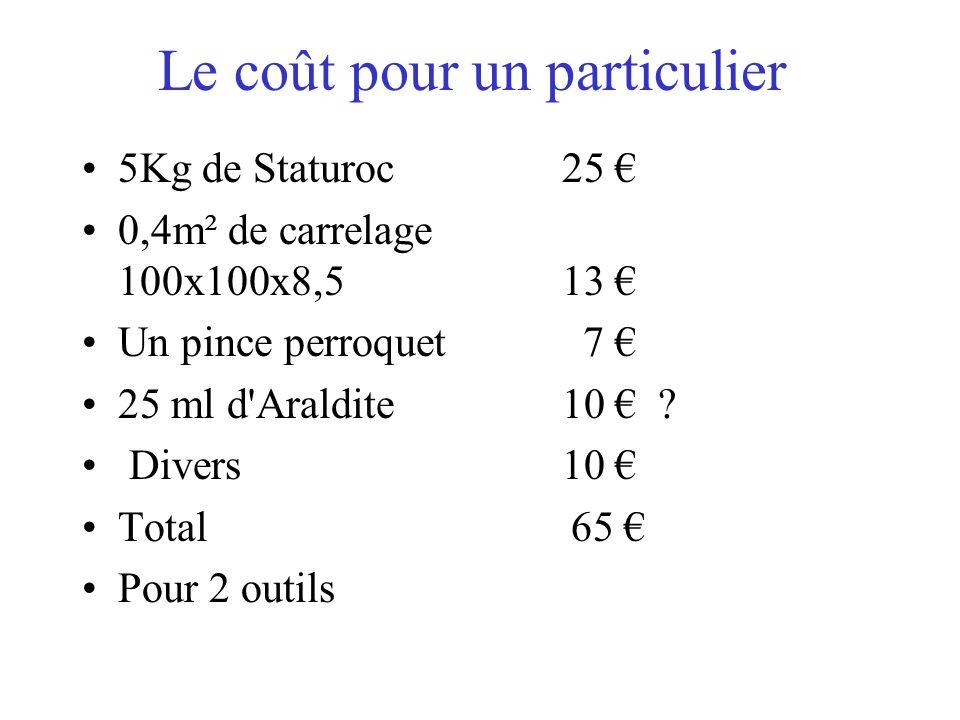 Le coût pour un particulier 5Kg de Staturoc25 0,4m² de carrelage 100x100x8,5 13 Un pince perroquet 7 25 ml d'Araldite 10 ? Divers10 Total 65 Pour 2 ou