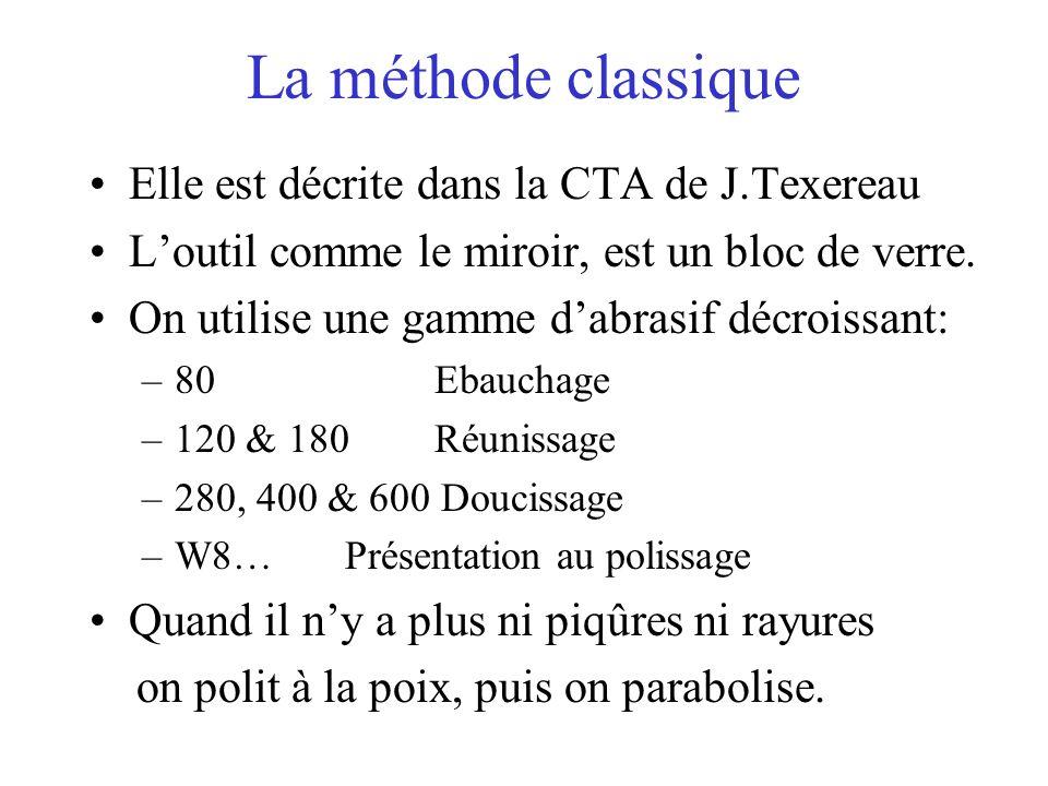 La méthode classique Elle est décrite dans la CTA de J.Texereau Loutil comme le miroir, est un bloc de verre. On utilise une gamme dabrasif décroissan