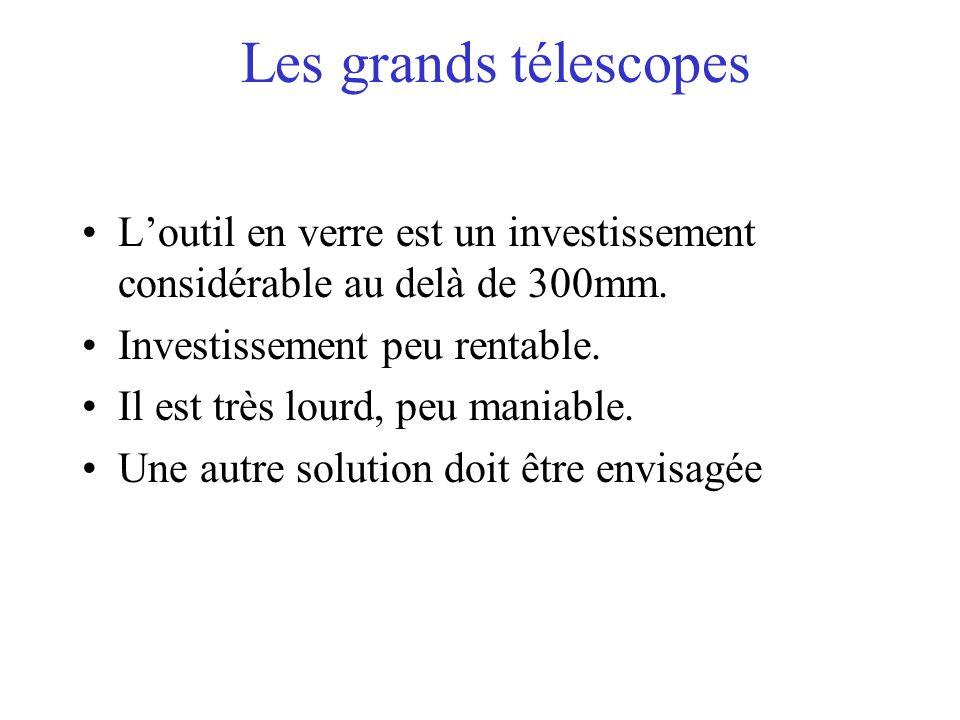 Les grands télescopes Loutil en verre est un investissement considérable au delà de 300mm. Investissement peu rentable. Il est très lourd, peu maniabl