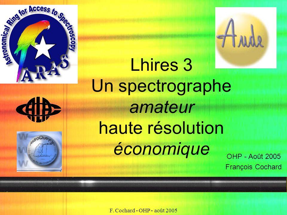 F. Cochard - OHP - août 2005 Lhires 3 Un spectrographe amateur haute résolution économique OHP - Août 2005 François Cochard