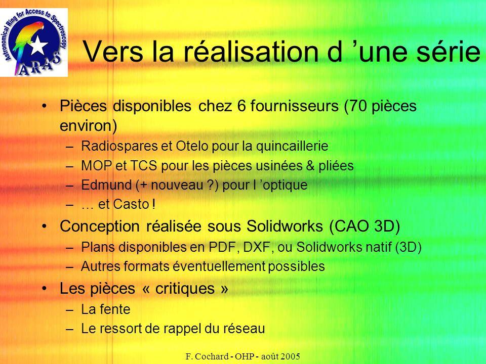F. Cochard - OHP - août 2005 Vers la réalisation d une série Pièces disponibles chez 6 fournisseurs (70 pièces environ) –Radiospares et Otelo pour la