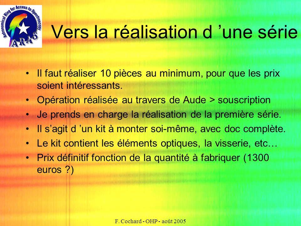 F. Cochard - OHP - août 2005 Vers la réalisation d une série Il faut réaliser 10 pièces au minimum, pour que les prix soient intéressants. Opération r