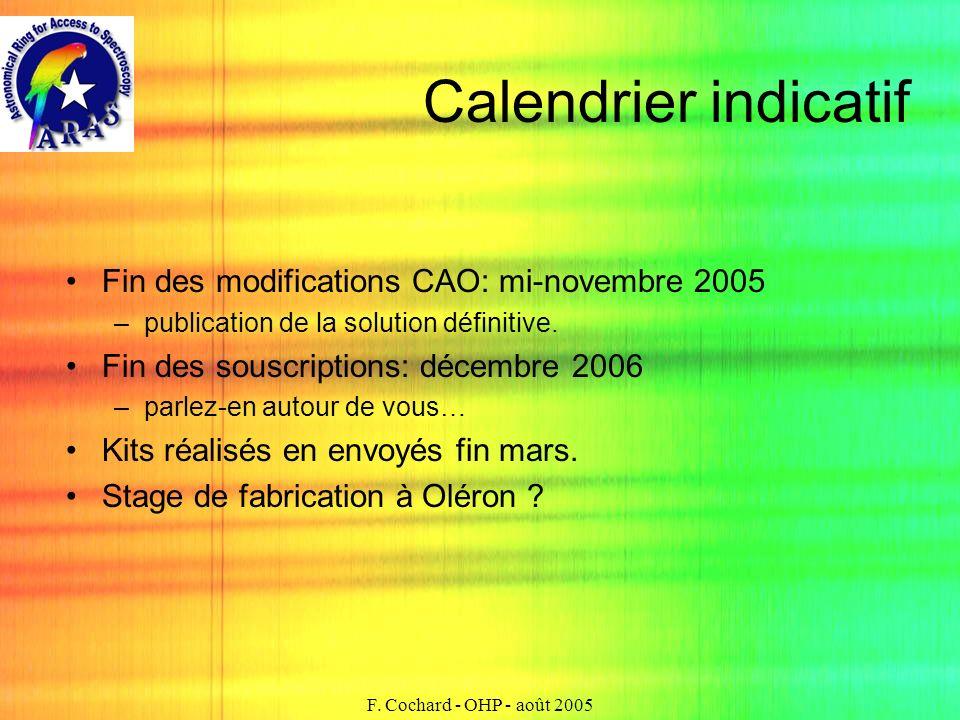 F. Cochard - OHP - août 2005 Calendrier indicatif Fin des modifications CAO: mi-novembre 2005 –publication de la solution définitive. Fin des souscrip