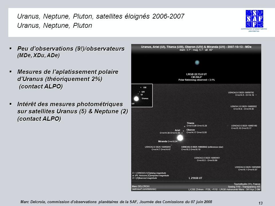 commission d observations planétaires 13 Uranus, Neptune, Pluton, satellites éloignés 2006-2007 Uranus, Neptune, Pluton Peu d observations (9!)/observateurs (MDe, XDu, ADe) Peu d observations (9!)/observateurs (MDe, XDu, ADe) Mesures de l aplatissement polaire d Uranus (théoriquement 2%) (contact ALPO) Mesures de l aplatissement polaire d Uranus (théoriquement 2%) (contact ALPO) Intérêt des mesures photométriques sur satellites Uranus (5) & Neptune (2) (contact ALPO) Intérêt des mesures photométriques sur satellites Uranus (5) & Neptune (2) (contact ALPO) Marc Delcroix, commission d observations planétaires de la SAF, Journée des Comissions du 07 juin 2008