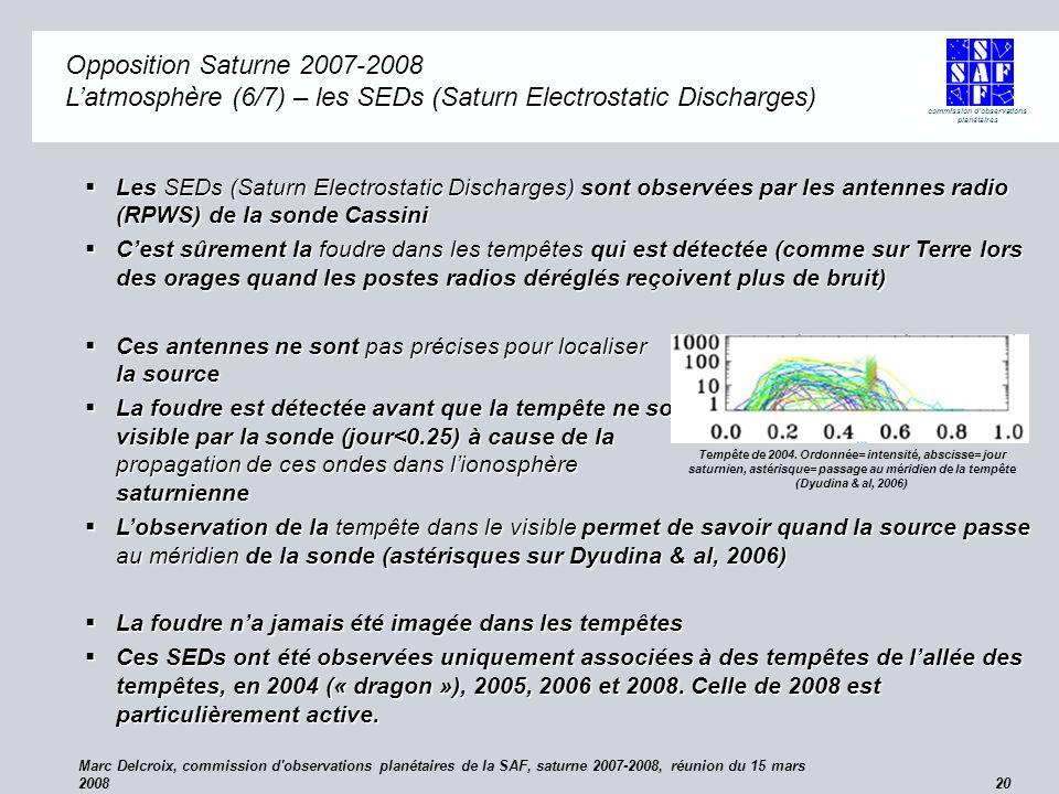 commission d observations planétaires Marc Delcroix, commission d observations planétaires de la SAF, saturne 2007-2008, réunion du 15 mars 2008 20 Opposition Saturne 2007-2008 (Saturn Electrostatic Discharges) Opposition Saturne 2007-2008 Latmosphère (6/7) – les SEDs (Saturn Electrostatic Discharges) Les SEDs (Saturn Electrostatic Discharges) sont observées par les antennes radio (RPWS) de la sonde Cassini Les SEDs (Saturn Electrostatic Discharges) sont observées par les antennes radio (RPWS) de la sonde Cassini Cest sûrement la foudre dans les tempêtes qui est détectée (comme sur Terre lors des orages quand les postes radios déréglés reçoivent plus de bruit) Cest sûrement la foudre dans les tempêtes qui est détectée (comme sur Terre lors des orages quand les postes radios déréglés reçoivent plus de bruit) Ces antennes ne sont pas précises pour localiser la source Ces antennes ne sont pas précises pour localiser la source La foudre est détectée avant que la tempête ne soit visible par la sonde (jour<0.25) à cause de la propagation de ces ondes dans lionosphère saturnienne La foudre est détectée avant que la tempête ne soit visible par la sonde (jour<0.25) à cause de la propagation de ces ondes dans lionosphère saturnienne Lobservation de la tempête dans le visible permet de savoir quand la source passe au méridien de la sonde (astérisques sur Dyudina & al, 2006) Lobservation de la tempête dans le visible permet de savoir quand la source passe au méridien de la sonde (astérisques sur Dyudina & al, 2006) La foudre na jamais été imagée dans les tempêtes La foudre na jamais été imagée dans les tempêtes Ces SEDs ont été observées uniquement associées à des tempêtes de lallée des tempêtes, en 2004 (« dragon »), 2005, 2006 et 2008.