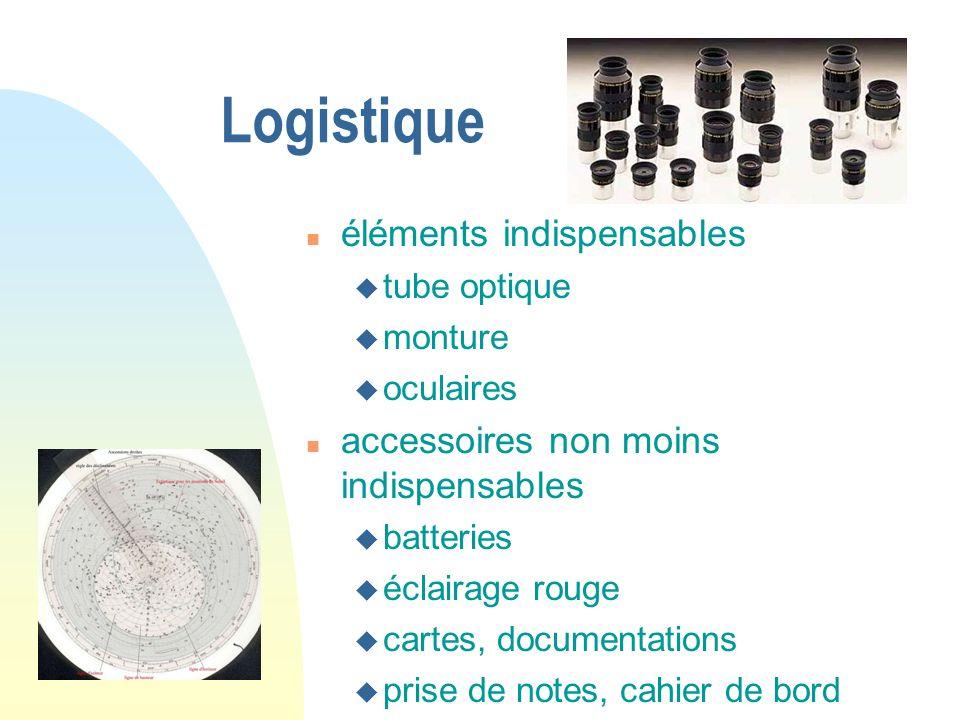 Logistique éléments indispensables tube optique monture oculaires accessoires non moins indispensables batteries éclairage rouge cartes, documentation