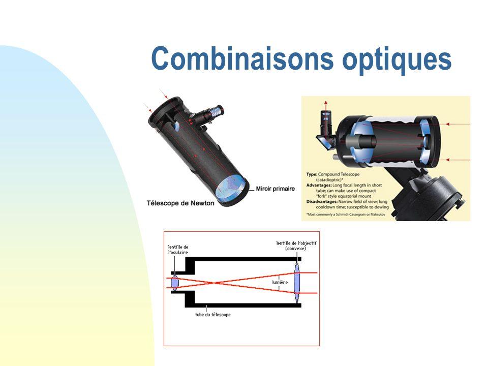 vision des images le grossissement et les oculaires images ponctuelles images étendues Caractéristiques principales Le diamètre => quantité lumière La focale instrument et focale oculaire Grossissement= F instrument / F oculaire