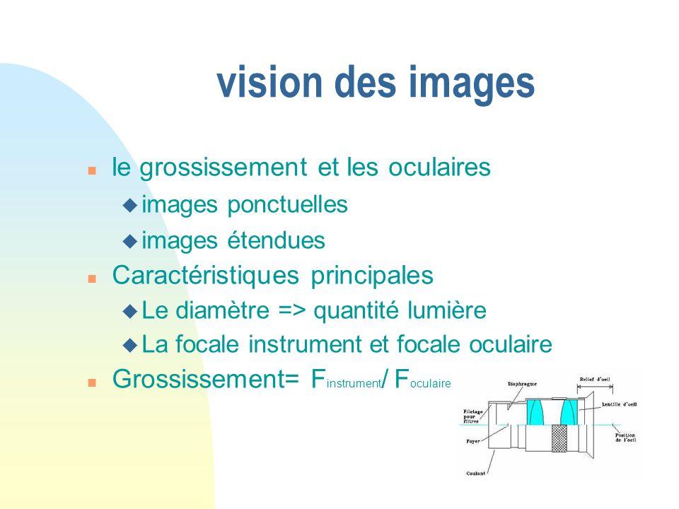 vision des images le grossissement et les oculaires images ponctuelles images étendues Caractéristiques principales Le diamètre => quantité lumière La