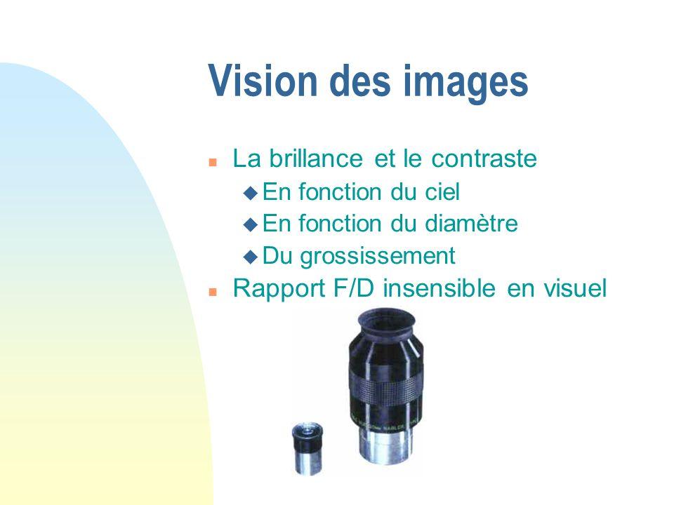 Vision des images La brillance et le contraste En fonction du ciel En fonction du diamètre Du grossissement Rapport F/D insensible en visuel