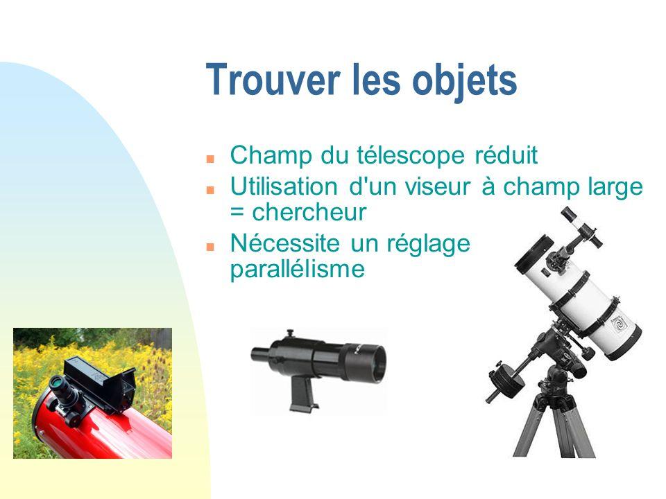 Trouver les objets Champ du télescope réduit Utilisation d'un viseur à champ large = chercheur Nécessite un réglage de parallélisme