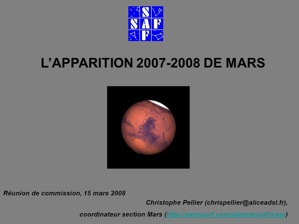 LAPPARITION 2007-2008 DE MARS Christophe Pellier (chrispellier@aliceadsl.fr), coordinateur section Mars (http://astrosurf.com/planetessaf/mars)http://astrosurf.com/planetessaf/mars Réunion de commission, 15 mars 2008