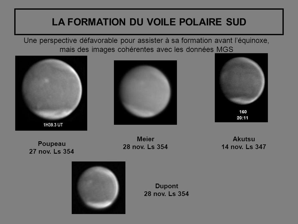 LA FORMATION DU VOILE POLAIRE SUD Une perspective défavorable pour assister à sa formation avant léquinoxe, mais des images cohérentes avec les données MGS Poupeau 27 nov.