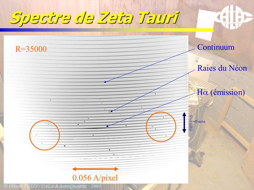 © Olivier THIZY / CALA & AstroQueyras - 2003 Spectre de Zeta Tauri 86 = H-alpha 85 84 83 87 88 H (émission) Raies du Néon Continuum 0.056 A/pixel R=35