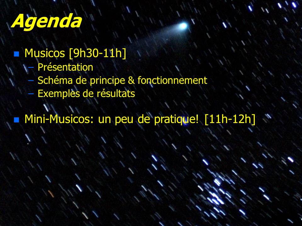 © Olivier THIZY / CALA & AstroQueyras - 2003 Agenda n Musicos [9h30-11h] –Présentation –Schéma de principe & fonctionnement –Exemples de résultats n M