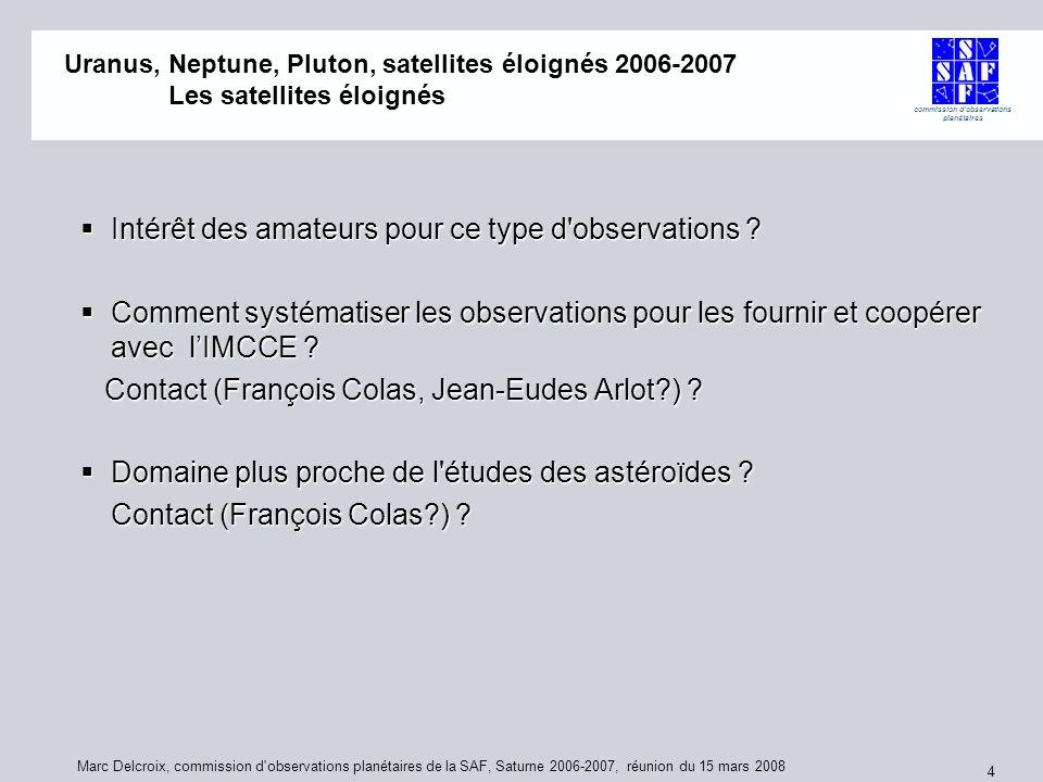 commission d'observations planétaires Marc Delcroix, commission d'observations planétaires de la SAF, Saturne 2006-2007, réunion du 15 mars 2008 4 Ura
