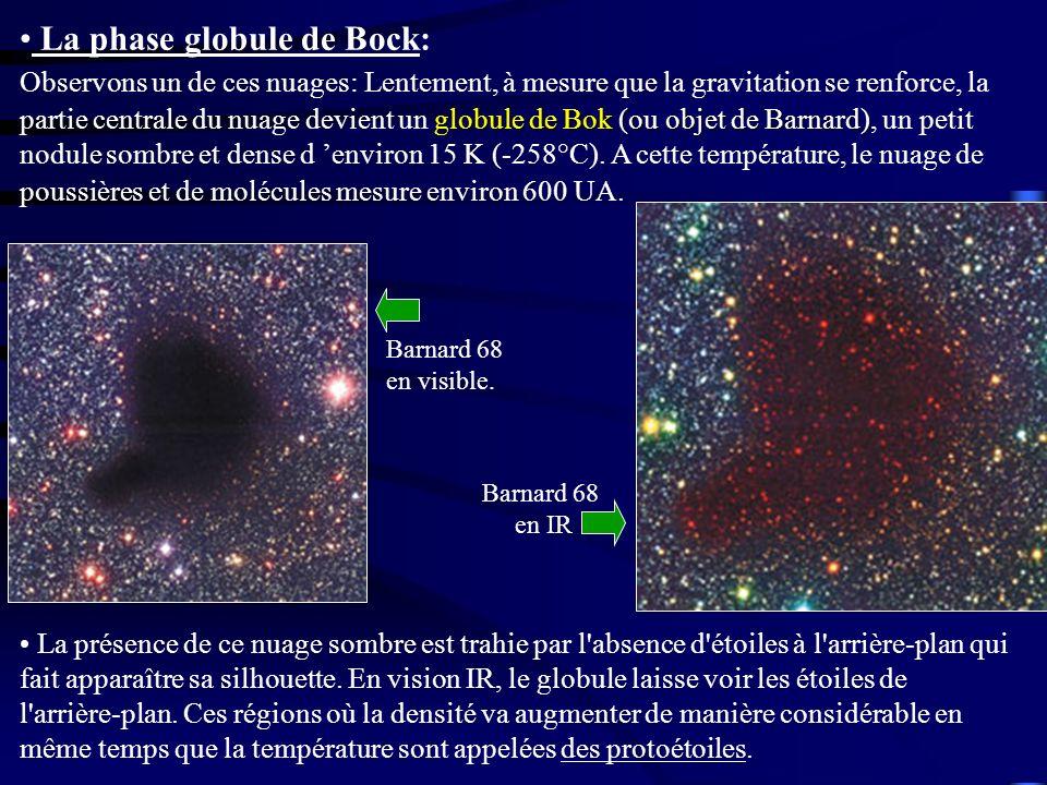 globule de Bok (ou objet de Barnard) La phase globule de Bock: Observons un de ces nuages: Lentement, à mesure que la gravitation se renforce, la part