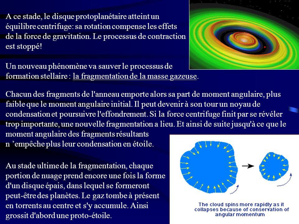 A ce stade, le disque protoplanétaire atteint un équilibre centrifuge: sa rotation compense les effets de la force de gravitation. Le processus de con
