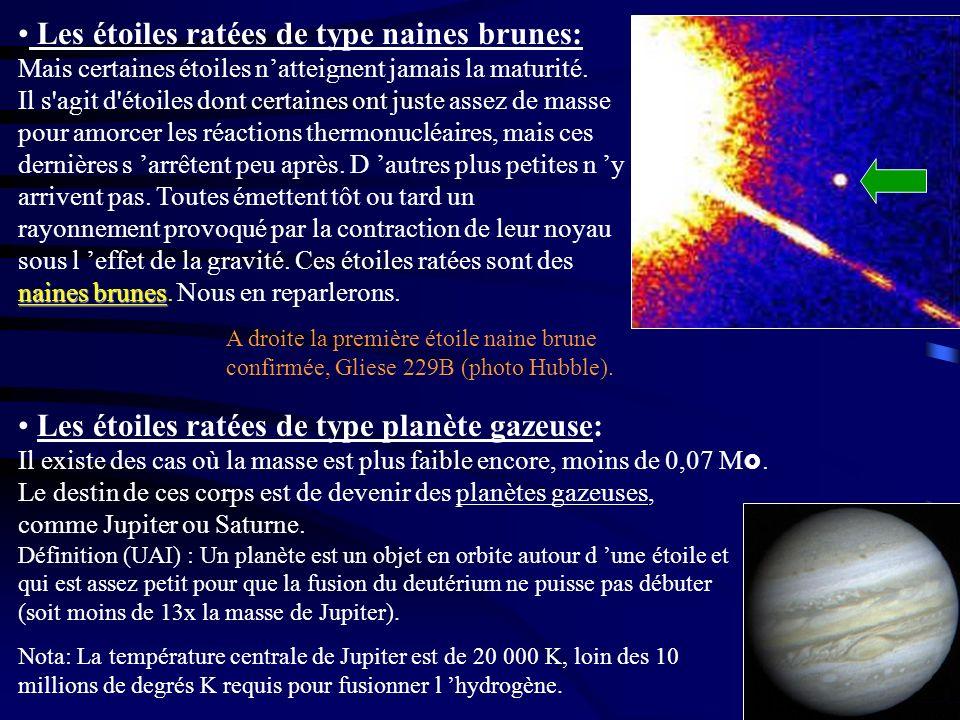 naines brunes Les étoiles ratées de type naines brunes: Mais certaines étoiles natteignent jamais la maturité. Il s'agit d'étoiles dont certaines ont