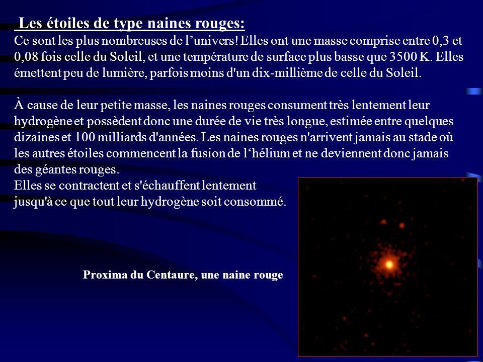 Les étoiles de type naines rouges: Ce sont les plus nombreuses de lunivers! Elles ont une masse comprise entre 0,3 et 0,08 fois celle du Soleil, et un