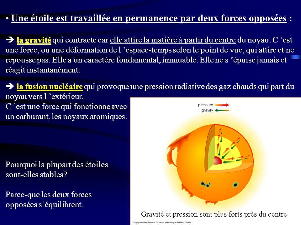 la gravité Une étoile est travaillée en permanence par deux forces opposées : la gravité qui contracte car elle attire la matière à partir du centre d