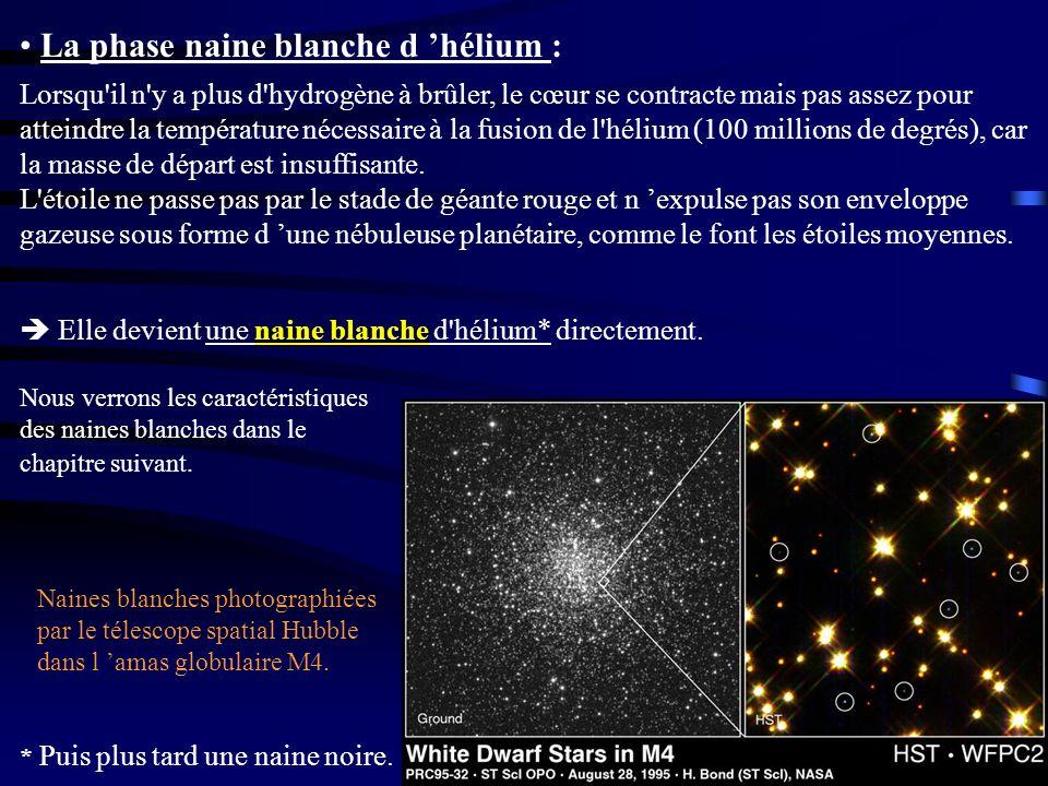 La phase naine blanche d hélium : Naines blanches photographiées par le télescope spatial Hubble dans l amas globulaire M4. Lorsqu'il n'y a plus d'hyd